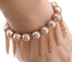 rose pearl bracelet images Buy rose pearl bracelet with rose gold fringe chain online jpg