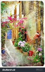 Court Yards by Pictorial Courtyards Greece Artwork Retro Painting Stock