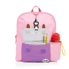 Pink Colour by Zip And Zoe Pink Colour Block Backpack