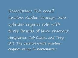 kohler recalls engines youtube