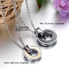 black necklace pendants images Teamo his and hers necklaces rose gold black disc pendants jpg