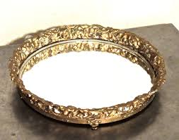 Vanity Trays For Perfume Vintage Round Mirrored Tray 1950s Hollywood Regency Gold