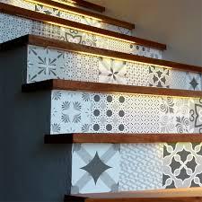 stickers livres trompe l oeil stickers escalier carrelages nuance de gris romantique x 2