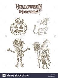 halloween monsters spooky cartoon creatures set eps10 vector file