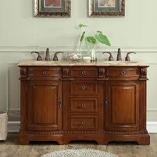 g3390 58 double sink vanity travertine top cabinet