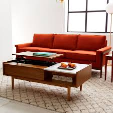 Storage Table For Living Room Mid Century Pop Up Storage Coffee Table Walnut West Elm