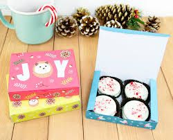 printable hedgehog christmas cookie boxes set of 3 diy christmas