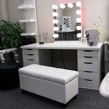 Vanity Bench Seat Furniture Vanity Stools With Cream Cushioned Seats And White