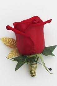 Red Rose Boutonniere And Gold Rose Boutonniere