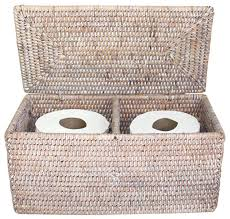 Wicker Bathroom Accessories by Rattan Double Toilet Paper Holder White Beach Style Bathroom