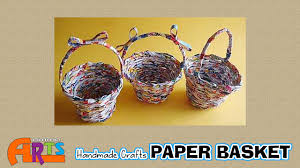 paper basket making handmade paper crafts in amma arts youtube