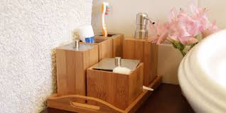 bathroom essentials set bamboo bathroom accessories