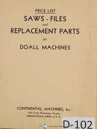 doall saws files and replacement parts machine manual doall