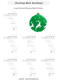 printable christmas math long division worksheet for grade 5 students