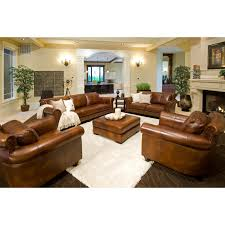 Rustic Leather Couch Top Grain Leather Living Room Sofa Set Combined With Square
