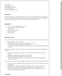 Resume Title Examples For Entry Level by Professional Entry Level Respiratory Therapist Templates To