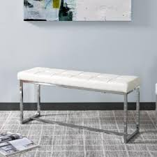 corliving huntington modern white leatherette bench with chrome
