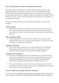 samples of objective statements for resumes the elegant