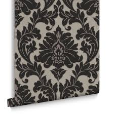 Block Print Wallpaper Black Wallpaper Plain U0026 Patterned Wallpaper Dark