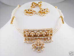 gold pearls necklace images Indian traditional four line pearl choker with earrings gleam jewels jpg