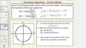 ex parametric equations modeling a path around a circle youtube