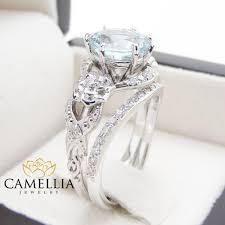 rings art images Unique aquamarine engagement ring set 14k white gold 2 carat jpg