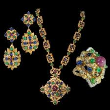 diamond style necklace images Lot 244 david webb style 18kt gold sapphire emerald ruby jpg