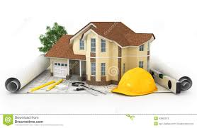3d rendering of a house with garage on top of blueprints stock