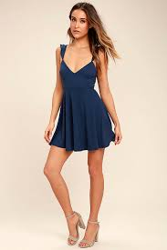 lulus sweeter than sugar navy blue backless skater dress front of