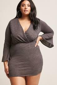 sleeve dress plus size heathered surplice bell sleeve dress forever21