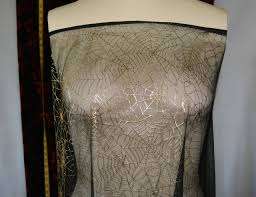 halloween costume fabric sheer spider web gold metallic black