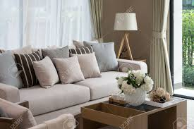 modern living room design with sofa and wooden lamp stock photo modern living room design with sofa and wooden lamp stock photo 36675701