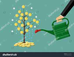 businessman hand watering money coin tree stock vector 557507926