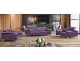 3 Pc Living Room Set Italian Leather 3pc Living Room Set In Purple Color Slick