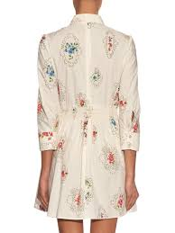 lyst red valentino smocked detail floral print dress in white