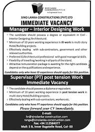 Interior Design Work Experience by Manager Interior Designing Work Jobs Vacancies In Sri Lanka Top