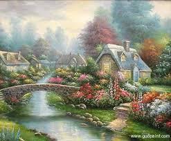 oil paintings of thomas kinkade flower garden oil painting