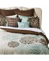 Blue And Brown Bed Sets Deals On Anya 8 Floral Print Bedding Set Blue Brown