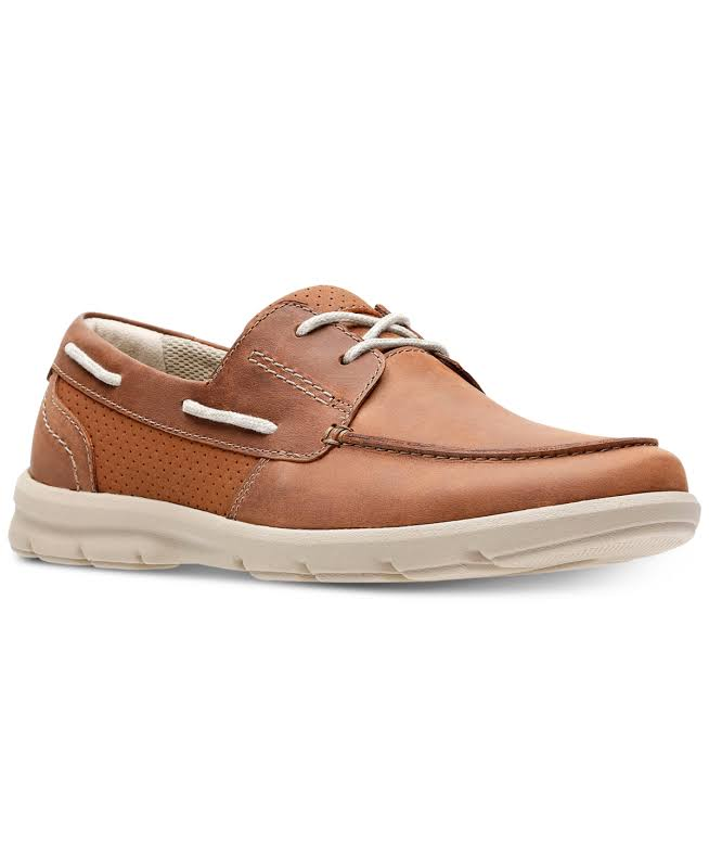Clarks Jarwin Edge 26133163 Brown Leather Casual Lace Up Boat Shoes