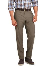 Mens Tailored Fit Yearrounder Wool Trousers from Lands End