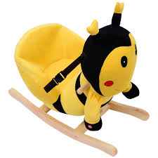 amazon com qaba kids plush rocking horse style bumble bee theme