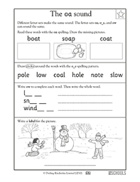 Oa Worksheets 1st Grade Kindergarten Reading Writing Worksheets Vowel Sounds