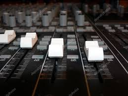 Recording Studio Mixing Desk by Mixing Console Channel Volume Controls U2014 Stock Photo Tdoes1