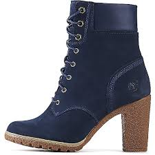 womens boots low heel timberland glancy 6 in s navy low heel ankle boots shiekh