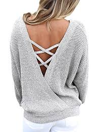 how does it take to knit a sweater asvivid s sleeve criss cross backless casual knit