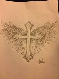 cross angel wing tattoos cross with wings tattoo design by protxtics tattoo pinterest