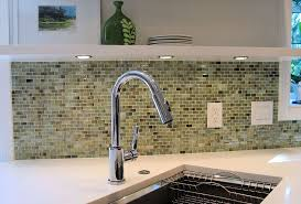 Glass Backsplash Kitchen by White Cabinets Next To