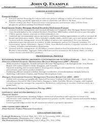 Resume Examples Financial Analyst by Index Of Samples