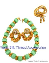 Mint Green Color Yaalz Golden Pearl Neckset In Mint Green Color