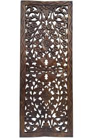 Home Decor Plaques Floral Wood Carved Wall Panel Wall Hanging Asian Home Decor